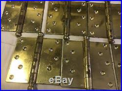 (12 LOT) 5 X 5 ANTIQUE BRASS PLATED BALL TIPS 10 SCREW Door HINGES VERY RARE