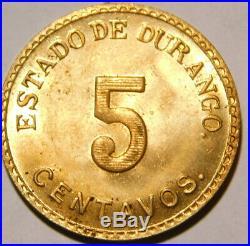 1914 Mexico Durango State 5 Centavos Brass UNC/BU Condition Very Rare A35-859
