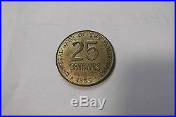 1966 Philippines F Marcos Pattern Large 25 25 Centavos, Brass Very Rare