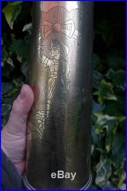 1WW Pair Trench Art Brass Vase Design 1916 Hobby Very Rare Piece Art Collector