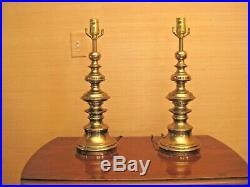 (2) Stiffel Antique Brass Metal Table Lamps Very Rare