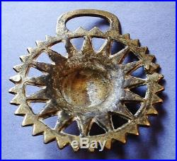A Very Rare Antique Sun Face Pattern Horse Brass With Diamond Registration