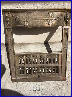 Strange Antique Vtg Fireplace Insert Cast Brass Victorian Comedy Download Free Architecture Designs Pushbritishbridgeorg