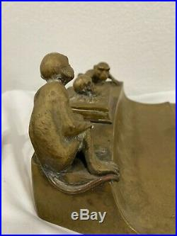 Antique Brass Skull Monkeys Memento Mori Inkwell Desk Set Very Rare