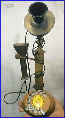 Antique Brass Telephone Rotary Phone Vintage Dial Electric very old rare Long 19