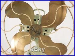 Antique Emerson 19646 Very Rare Green Brass Blade Fan Metal Cage Circa 1914 Air