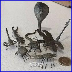 Antique Miniature Bronze/brass Insects Victorian Very Rare X 7