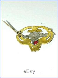 Antique Vampire Bat Brooch with Red Stone Back Very Rare