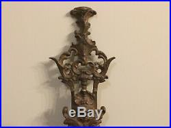Antique cast brass coat hat hanger very old and nice rare probably one of one