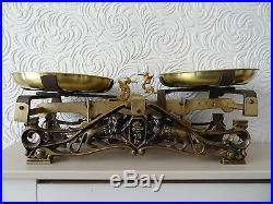 Antique kitchen scales with brass scoops very rare pub shop farm kitchen