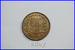 Belgium 10 Francs 1930 Dutch Brass Very Rare A99 #k6740