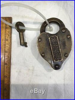 Brass Railroad Lock C & M E Or G & M E Ry Lock Very Rare Railroad Lock