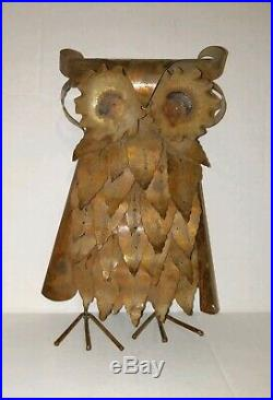 Curtis Jere Brutalist Vint Torched Brass Owl Sculpture Very Very Rare Model