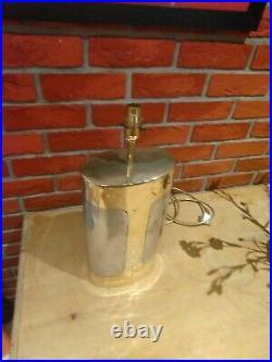 David Marshall Signed 1985 large Brutalist brass/aluminium table lamp, very rare