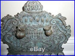 HANUKKAH Menorah altar Poland VINTAGE VERY RARE ANTIQUE Brass Jewish Pre WW1 WW2