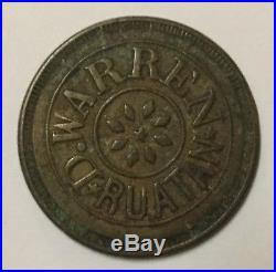 Honduras D. Warren Ruatan Merchant Brass Token For 1/2 Real-very Rare