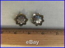 James Avery Vintage Sterling Silver & Brass Flower Lotus Earrings Very RARE