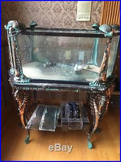 Jewel Aquarium Very Rare Custom Solid Cast Brass withMarble Antique. Incredible
