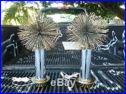 Pair Of Very Rare Curtis Jere Heavy Blossom Sputnik Sea Urchin Table Lamps