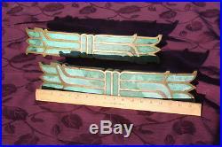 Pepe Mendoza vintage Door Handles Brass with Turquoise Ceramic Inlay very RARE