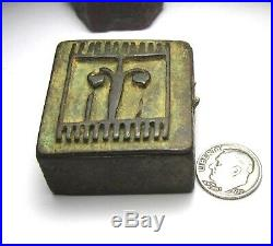 RARE VERY OLD AKAN/ASHANTI SOLID BRASS GOLD DUST BOX GOLDWEIGHT 21mm x 38mm