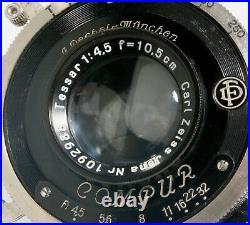 Rare Compur Shutter + Tessar 10.5cm f4.5, Focusing Model, Very Clean & Working