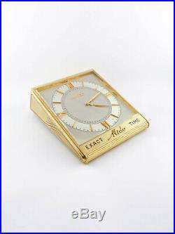 Super rare desk clock from Mido Exact Time very heavy brass case, 1940's
