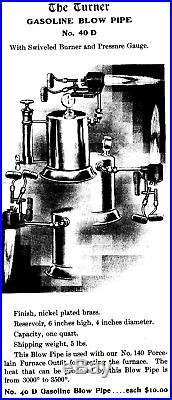 TURNER BRASS WORKS No. 40D Pressure Gauge One Quart Blow Pipe c1903 VERY RARE