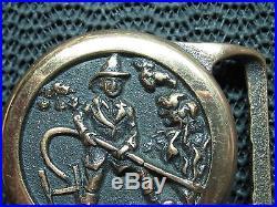 Tech Ether Firefighter Belt Buckle! Vintage! Very Rare! Bill Bultema! Usa! Brass