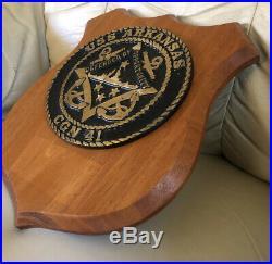 USS ARKANSAS CGN-41 VTG Heavy Bronze/Brass Medallion 6.5 Dia Plaque Very RARE