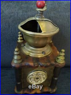 VERY RARE Antique Marbled Butterscotch Catalin Bakelite and Brass Coffee Grinder