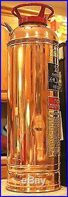 VERY RARE Antique Vintage K-M Copper Brass Fire Extinguisher-Polished Restored