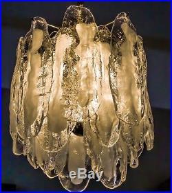 VERY RARE MURANO GLAS ON BRASS FRAME BALLROOM CHANDELIER GERMANY 70s 1970s