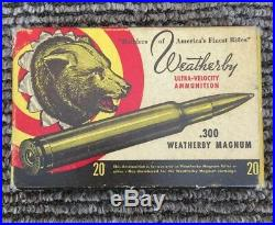VERY RARE! Vintage Weatherby 300 W. M. Bear Ammunition Box WITH Brass