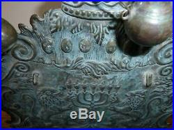 VINTAGE 1852 VERY RARE ANTIQUE Brass Jewish HANUKKAH Menorah altar Poland