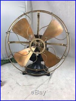 Very Nice All Original Finish Western Electric Bipolar 12 Fan Rare Brass Blade