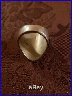 Very Rare 1940s Mexican Biker Ring Mixed Metals Brass Horses enamel sz 11, 29g