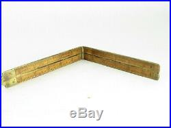 Very Rare A Stanley # 62 Carpenters Brass Bound Rule Circa 1854 T5606