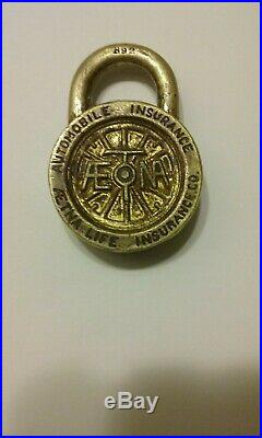 Very Rare Antique Aetna Life Automobile Insurance Co. Solid Brass Padlock B 92