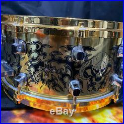 Very Rare! MAPEX Tatoo & Edge Brass Snare Drum 50-Limited Model 14x6.5