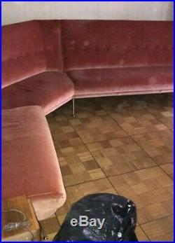 Very Rare Mid century Curved Sofa Gio Ponti Marco Zanuso brass foots italy 1950s