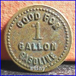 Very Rare ND J. E. Carson & Sons 1 Gallon Gasoline Colchester Ills Token
