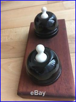 Very Rare Original Victorian Antique Porcelain Light Switches X 2 Mounted
