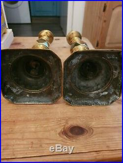 Very Rare Pair Ace Of Diamonds Brass Candle Sticks Victorian 1897