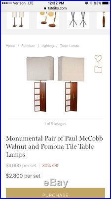 Very Rare Paul McCobb Walnut and Pomona Tile Table Lamp Mid-Century Modern Eames