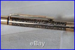 Very Rare Sheaffer Targa Brass Ballpoint Biro Pen Vintage, leaves grapes