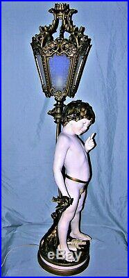 Very Rare Signed Auguste Moreau Young Boy with Birds Newel Post Lamp