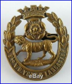 Very Rare VC Brass 2nd Volunteers Battalion York & Lancaster Officers Cap Badge