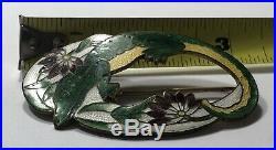 Very Rare Victorian Edwardian Alligator or Lizard Brooch Guilloche Enamelling FL
