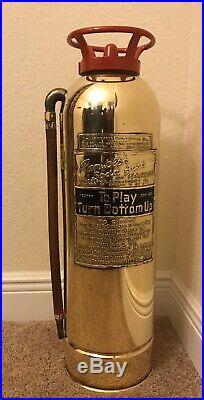 Very Rare Vintage Antique Brass Randolph Fire Extinguisher